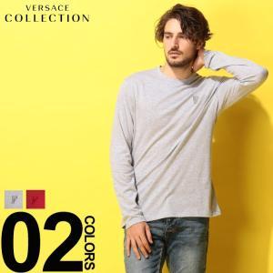 ヴェルサーチ コレクション VERSACE COLLECTION ヴェルサーチェ Tシャツ 長袖 ロンT ロゴ クルーネック ブランド メンズ トップス カットソー VCV80491RVJ0180|zen