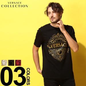 ヴェルサーチ コレクション VERSACE COLLECTION ヴェルサーチェ Tシャツ 半袖 ロゴ ブランド メンズ プリント VCV800683RVJ610|zen