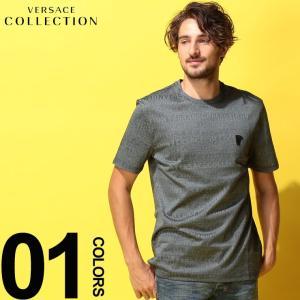 ヴェルサーチ コレクション VERSACE COLLECTION ヴェルサーチェ Tシャツ 半袖 ロゴ 総柄 クルーネック ブランド メンズ トップス VCV800683RVJ614|zen