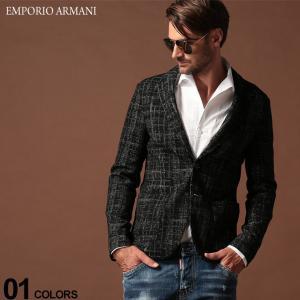 エンポリオ アルマーニ EMPORIO ARMANI ジャケット ウール ジャガード チェック ストレッチ シングル 2ツ釦 ニット ブランド メンズ テーラード EA41G87S41S27|zen