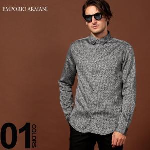 エンポリオ アルマーニ EMPORIO ARMANI シャツ 長袖 ロゴ レギュラーカラー ブランド メンズ トップス 総柄 コットン ストレッチ EA6G1C091N73Z|zen