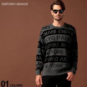 エンポリオ アルマーニ EMPORIO ARMANI ニット セーター ロゴ ボーダー クルーネック...