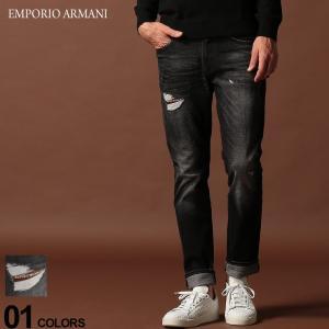 エンポリオ アルマーニ EMPORIO ARMANI デニムパンツ ダメージ ロゴ ジップフライ ジーンズ SLIM BLACK ブランド メンズ ジーパン デニム スリム EA6G1J061D6YZ zen