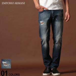 エンポリオ アルマーニ EMPORIO ARMANI デニムパンツ ダメージ ロゴ ジップフライ ジーンズ SLIM BLUE ブランド メンズ ジーパン デニム スリム EA6G1J061D6YZ zen