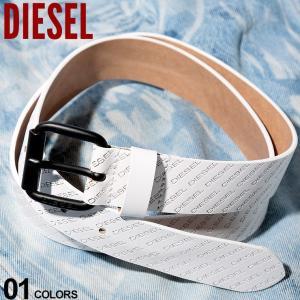 ディーゼル DIESEL ベルト レザー ロゴ ホワイト ブランド メンズ レザーベルト ピンバックル DSX06195PR505|zen
