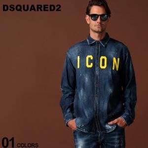 ディースクエアード DSQUARED2 デニムシャツ ロゴ ICON プリント ダメージ 長袖 シャツ ブランド メンズ トップス デニム D2DM0273S30341|zen