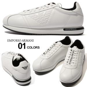 エンポリオ アルマーニ EMPORIO ARMANI スニーカー レザー 型押し イーグル ロゴ ローカット ブランド メンズ 靴 シューズ EAX4X260XL709|zen