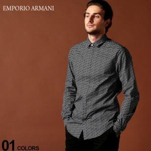 エンポリオ アルマーニ EMPORIO ARMANI シャツ 長袖 ロゴ ボーダー 比翼 ナローカラー ブランド メンズ トップス コットン EA6G1C651N6VZ|zen