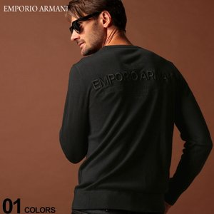 バックロゴ刺繍がポイントになったEMPORIO ARMANI のクルーネック ニット。上質なウール混...