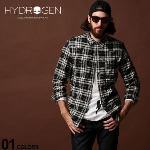ハイドロゲン HYDROGEN チェックシャツ 長袖 ウエスタンシャツ ブランド メンズ トップス シャツ ストレッチ HY250508|zen