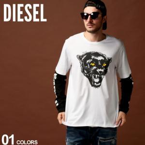 ディーゼル DIESEL Tシャツ 長袖 ロンT プリント フェイクレイヤード クルーネック ブランド メンズ トップス カットソー DSSXRXCATM|zen