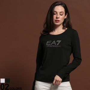 エンポリオ アルマーニ Tシャツ レディース EMPORIO ARMANI EA7 長袖 カットソー ロンT ラインストーン ロゴ クルーネック ブランド トップス EAL6GTT61TJ29Z zen