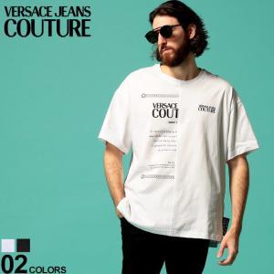 ヴェルサーチ ジーンズクチュール メンズ Tシャツ VERSACE JEANS COUTURE ヴェルサーチェ 半袖 ロゴ プリント ブランド ビッグシルエット VCB3GVA7X430324|zen