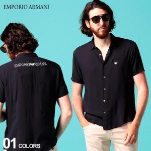 エンポリオ アルマーニ メンズ シャツ 半袖 EMPORIO ARMANI ロゴ バック刺繍 レーヨン 黒 ブランド トップス EA3H1C911NXKZ zen