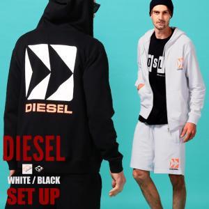 ディーゼル メンズ セットアップ スウェット DIESEL ロゴ バックプリント パーカー ショートパンツ ブランド ショーツ スエット 上下セット DSSHG0HAXDSETUP|zen