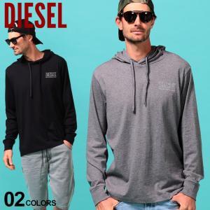 ディーゼル メンズ パーカー Tシャツ 長袖 DIESEL ロゴ プリント フード プルオーバー Tパーカー ブランド トップス ロンT カットソー DSSC4WQAZN|zen