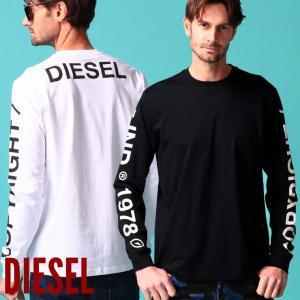 ディーゼル メンズ Tシャツ 長袖 DIESEL ロゴ 袖プリント バックプリント クルーネック ロンT ブランド トップス カットソー DSSEF8091A|zen
