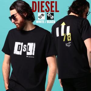 ディーゼル メンズ Tシャツ 半袖 DIESEL ロゴ プリント バックプリント クルーネック ブランド トップス プリントT ロゴT DSST5IEAYU|zen