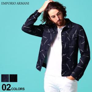エンポリオ アルマーニ メンズ デニムジャケット EMPORIO ARMANI ロゴ 総柄 ストレッチ プリント ブランド アウター ジャケット Gジャン EA3H1B221D9VZ|zen