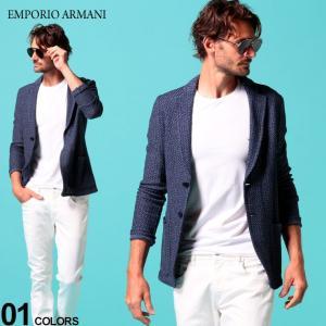 エンポリオ アルマーニ メンズ ジャケット EMPORIO ARMANI シングル 2ツ釦 ニットジャケット ブランド メンズ テーラード コットンニット EA51G53S51S10 zen