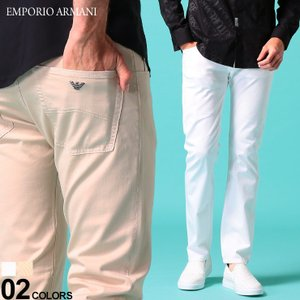 エンポリオ アルマーニ メンズ コットンパンツ EMPORIO ARMANI ストレッチ コットン レギュラーストレート ブランド 白 ベージュ ボトムス EA3H1J451N4ZZ|zen