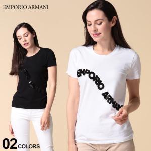 エンポリオ アルマーニ EMPORIO ARMANI スパンコール ロゴ クルーネック 半袖 Tシャツ ブランド レディース トップス ビーズ コットン キラキラ EAL3H2T6F2JQAZ zen