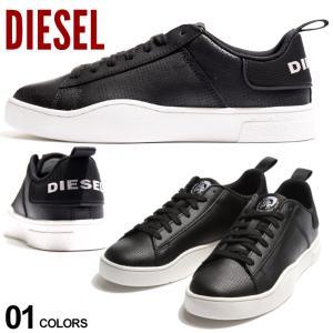 ディーゼル メンズ スニーカー DIESEL パンチング レザー ロゴ ローカット ブランド シューズ 靴 黒 DSY02045P3414|zen