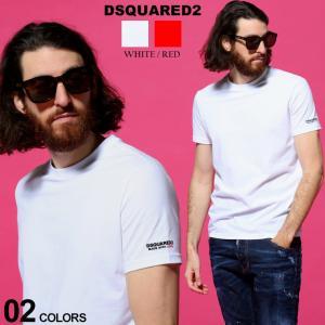 ディースクエアード メンズ Tシャツ DSQUARED2 袖 ロゴ プリント クルーネック 半袖 ブランド トップス コットン ストレッチ D2D9M203520|zen
