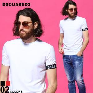 ディースクエアード メンズ Tシャツ DSQUARED2 ロゴ アームライン クルーネック 半袖 ブランド トップス コットン ストレッチ D2D9M3S3450|zen