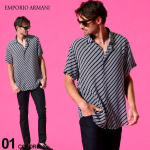 エンポリオアルマーニ メンズ シャツ 半袖 EMPORIO ARMANI レーヨン バイヤスプリント ブランド トップス 柄シャツ 総柄 EA3K1CB91NYMZ|zen