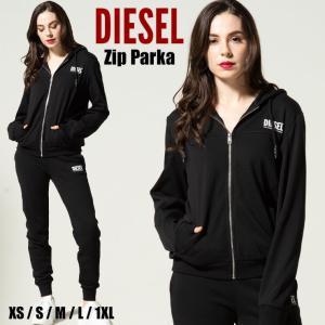 ディーゼル レディース パーカー DIESEL ロゴ プリント スウェット ブランド トップス ジップパーカー スエット DSLA00982PAZF|zen