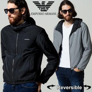 エンポリオアルマーニ メンズ EMPORIO ARMANI リバーシブル ロゴ 総柄 フード ナイロン パーカー 中綿 ジャケット ブランド アウター ブルゾン EA6K1B701NTPZ|zen