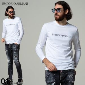 EMPORIO ARMANI エンポリオアルマーニ ロゴ プリント クルーネック 長袖 Tシャツ ブランド メンズ トップス ロンT EA8N1TN81JPZZL|zen