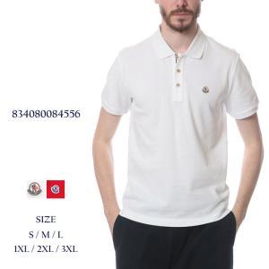 モンクレール MONCLER ロゴワッペン 綿100% トリコロールカラーボタン 半袖 ポロシャツ MC834080084556|zen