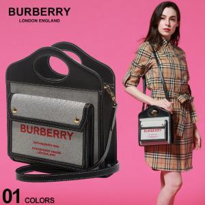 バーバリー レディース バッグ BURBERRY ミニ ツートン キャンバス レザー ポケットバッグ BLACK ブランド 鞄 ショルダーバッグ BBL8036814|zen