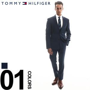 トミーヒルフィガー TOMMY HILFIGER スーツ ストレッチ シングル 2ツボタン サイドベンツ メンズ ブランド 紳士 ブランドスーツ ビジネス 伸縮 スリム TMASB0005|zen