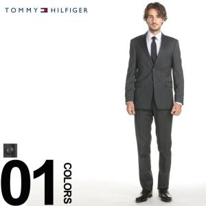 トミーヒルフィガー スーツ TOMMY HILFIGER ストレッチ ピンストライプ シングル 2ツ釦 2B ノータック メンズ ビジネス ウール サイドベンツ TMASB0080 zen