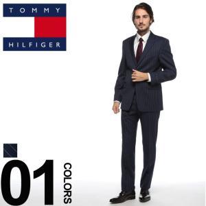 トミーヒルフィガー TOMMY HILFIGER スーツ ストレッチ ストライプ シングル 2ツ釦 2B ブランド メンズ ビジネス ウール ノータック サイドベンツ TMASB0046 zen