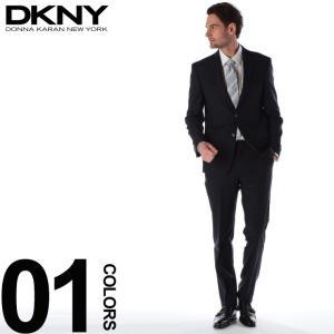 DKNY ダナキャラン ニューヨーク スーツ ピン ストライプ シングル 2ツ釦 2B ウール NAVY ブランド メンズ ビジネス ノータック DK12Y1409|zen