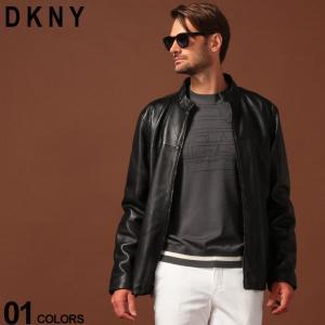 DKNY ダナキャラン ニューヨーク レザージャケット フルジップ レザー シングル ブランド メンズ アウター ブルゾン 革ジャン スタンドカラー DKDX9M2388|zen