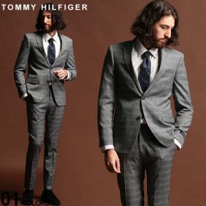 トミーヒルフィガー スーツ TOMMY HILFIGER チェック グレー ストレッチ シングル 2ツ釦 2B GRAY ブランド メンズ ウール ノータック TMASB0019 zen