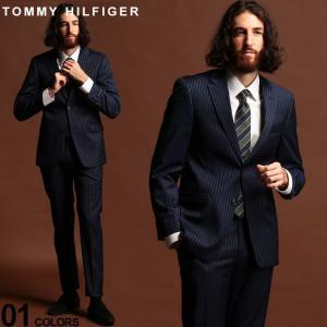 トミーヒルフィガー スーツ TOMMY HILFIGER ストライプ ストレッチ ウール混 シングル 2ツ釦 2B NAVY ブランド メンズ ウール ノータック TMAS80016 zen