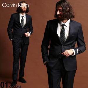 カルバンクライン スーツ CK Calvin Klein ストレッチ ピンストライプ シングル 2ツ釦 2B NAVY SLIM FIT ブランド メンズ ウール ノータック CKMABRY5UZX212 zen