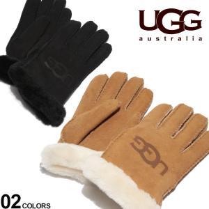 アグ レディース 手袋 UGG Australia グローブ シープスキン ロゴ SHEEPSKIN LOGO ブランド レザー 革手袋 ふわふわ UGGL18691 zen
