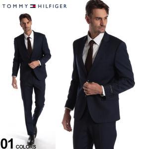 トミーヒルフィガー メンズ スーツ TOMMY HILFIGER ストライプ ストレッチ ウール混 シングル 2ツ釦 2B ブランド ビジネス ノータック TMLOWENASB0115 zen