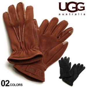 アグオーストラリア メンズ 手袋 UGG Australia レザー グローブ ブランド 革手袋 ロゴ スマホ対応 UGG18833|zen