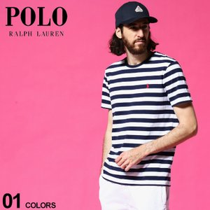ポロ ラルフローレン メンズ POLO RALPH LAUREN ボーダー ロゴ 刺繍 クルーネック 半袖 Tシャツ ブランド トップス マリン RL710823560001|zen