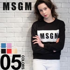 MSGM エムエスジーエム スウェット トレーナー ボックスロゴ プリント クルーネック レディース MSL2441MDM96 ブランド|zen