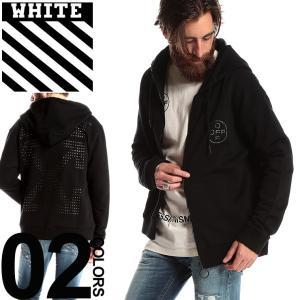 OFF-WHITE オフホワイト パーカー スウェット フルジップ ラインストーン ロゴ OFF CROSS ブランド メンズ トップス フード スエット OWBE01R19003010|zen