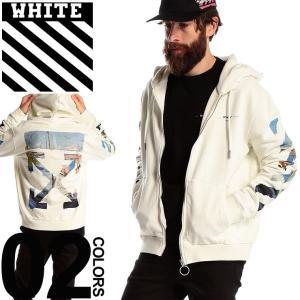 OFF-WHITE オフホワイト パーカー スウェット フルジップ プリント DIAG COLORED ARROW ブランド メンズ トップス フード ストリート スエット OWBE01R19003012|zen